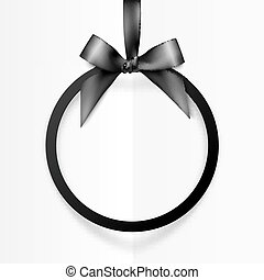 Black holiday round frame with bow and silky ribbon
