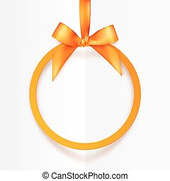 Orange round hanging frame with silky bow and ribbon