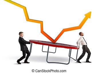 Bounce the crisis - Businessmen bounce an arrow on a...