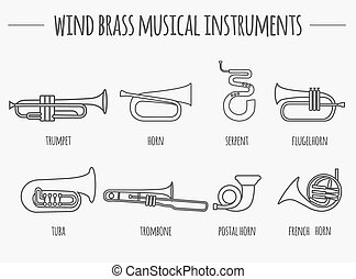 Musical instruments. Wind brass
