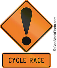 Road sign assembly in New Zealand - Cycle race.
