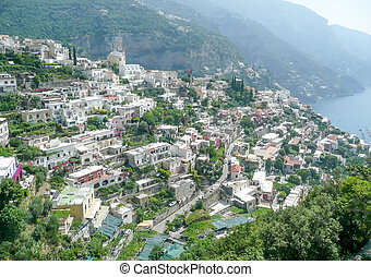 Aerial View of Positano Village on the Amalfi Coast, Italy