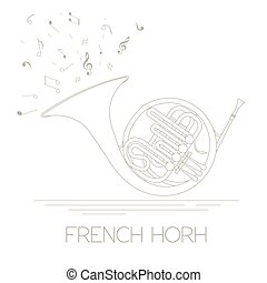 Musical instrument French horn - Musical instruments graphic...