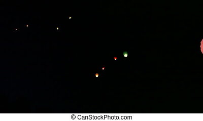 Sky lanterns Night