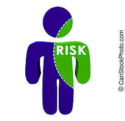 Risk Word Dotted Line 3d Person Percentage Portion - Risk...