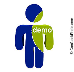 Demo Groups Person Cut Dotted Lines Market Research Population Segment