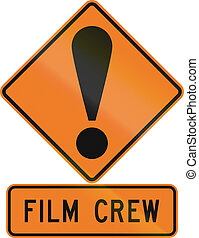 Road sign assembly in New Zealand - Film crew.