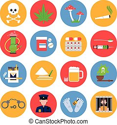 Drugs Icons Set - Drugs round icons set with drugs alcohol...