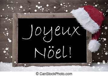 Gray Card, Chalkboard, Joyeux Noel Mean Merry Christmas,...