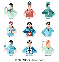 Doctor Character Icons Set - Flat icons set of doctor...