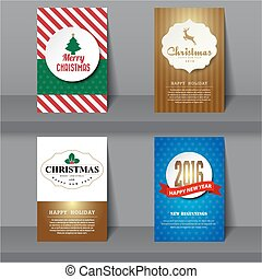 Set of  Christmas brochures in vintage style