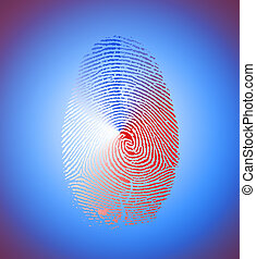 Red, white, blue fingerprint