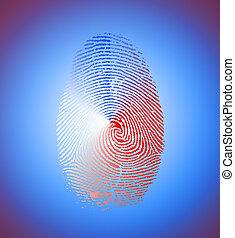 Red, white, blue fingerprint