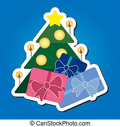 Christmas tree with star and colored gifts - greeting card...