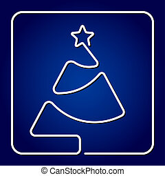 greeting card - contour Christmas tree with star - greeting...