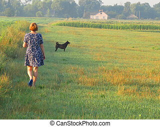 Woman in the morning field
