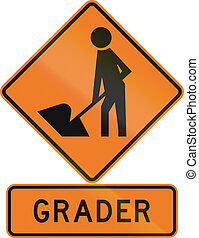 Road sign assembly in New Zealand - Grader.