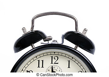 Classic old black alarm clock on white background - Classic...