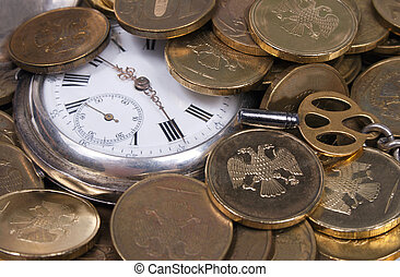 Coins and Antique pocket watch. - Coins and Antique pocket...