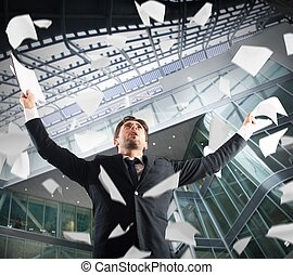Cheer for job satisfaction - In the office businessman...