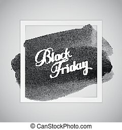 Black Friday Sale label on the watercolor stain Promotional...
