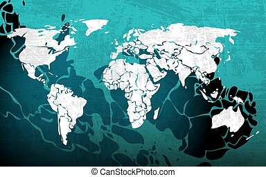 Grunge blue worldmap, vector illustration for Your design,...
