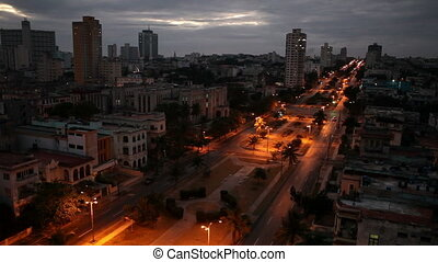 Cuba Night Havana The top view on avenue Presidents - Cuba...
