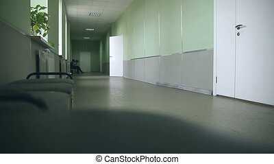 school empty corridor interior to right classes green wall -...