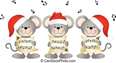 Christmas mouses choir singing - Scalable vectorial image...
