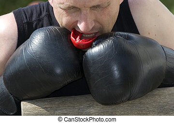 kickboxer, ou, muay, Tailandês, lutador, equips, e,...