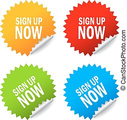 Sign up now stickers set on white background