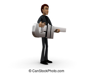 3d man holding a pipe wrenc in hands concept