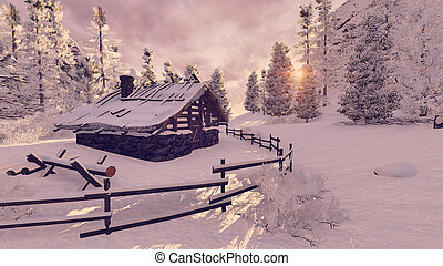 Cozy little hut among snowy firs at sunset - Dreamlike...