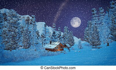Little hut high in mountains at snowfall night - Dreamlike...