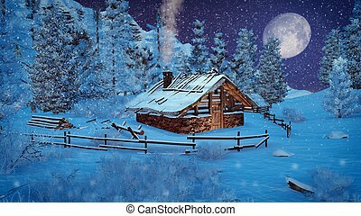 Little cabin in a mountains at snowfall night - Dreamlike...