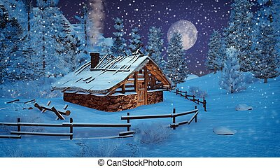 Little hut at snowfall night with full moon - Dreamlike...