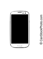 White smartphone isolated on white background. - White...