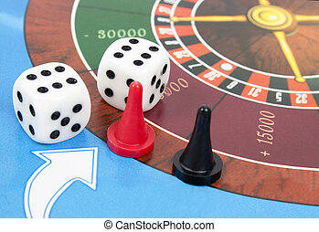 Gambling dice and roulette.