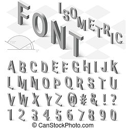 Isometric font alphabet with drop shadow on white...