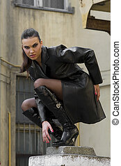 the vampire - sexy girl vampire with black leather coat...