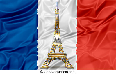 Flag of France with Eiffel Tower - The national waving flag...
