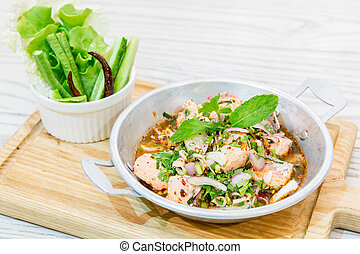 Spicy Salmon salad - Thai Style Spicy Salmon salad with...
