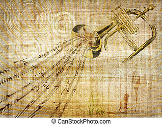 Trumpet music - An illustration of a music and instrument...