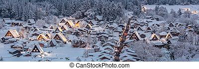 Shirakawago light-up Panorama - Shirakawago light-up with...