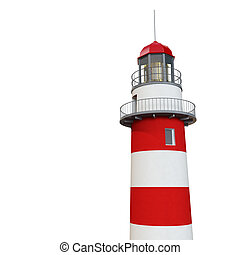 3d lighthouse - red and white classic 3d lighthouse isolated...