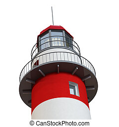 lighthouse detail - classic 3d red and white lighthouse on...