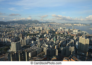east of Kowloon side view Hong kong isaland at ICC - the...