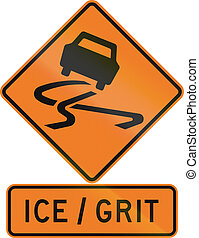 Road sign assembly in New Zealand - Ice, Grit
