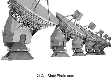 Radar - Satelite dish isolated on white background 3d render...