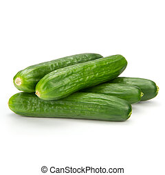 cuke - close up of small cucumbers on the white background
